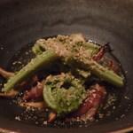 千翠 - 炙ったアゲマキ貝とホタルイカ