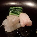 千翠 - 真鰈の昆布〆、石鯛
