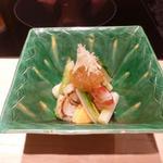 京都 瓢斗 - 先附:天然帆立貝の貝柱の炙りと肝、車海老の酢の物