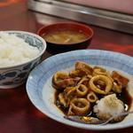 江戸川食堂 - 20150424 煮イカ+ごはん+みそ汁