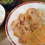 キッチン大正軒 - 組合せ定食 豚しょうが焼き・メンチ【2015年4月】