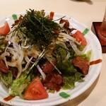 北海道 知床漁場 - 新玉葱とカリカリベーコンのサラダ