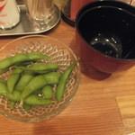 立ち飲み処ここ - セットの枝豆(2015.4.25)