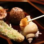 日本料理 徳 - 八寸 ばいがい、きぬかつぎetc