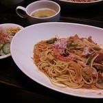 茶里庵 - 蟹とトマトのパスタセット