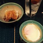 東京やきとり亭 - つきだし名古屋コーチンの温玉