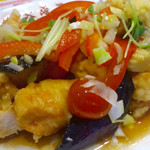 37346595 - さっぱり夏野菜油淋鶏