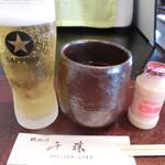 鉄板焼千珠 - 「いいね!」のランチビールサービス♪ なんちゃってヤクルトも愛♡を感じます☆