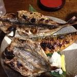 37404072 - 干物三品定食(1,500円)あじ、金目鯛、かます