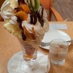 ぷらむ - チョコバナナパフェ大盛、満足サイズ