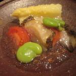 御料理 堀川 - 先ずはアスパラと鮑爽やかなトマトジュレ