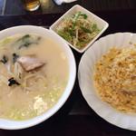 茗菜縁 - ラーメンセット(豚骨ラーメンで。¥750)
