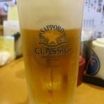 回転寿し トリトン - ビールはサッポロクラシックです。