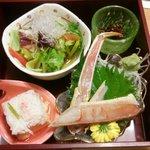 海老名 甲羅本店 - かに豆富、サラダ、ずわい蟹の刺身