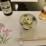 37442539 - 先付け。色合いも春らしい一品。うすい豆腐に筍、ユリ根を花弁に見立てて。。。