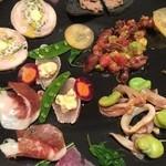 MINORIKAWA - 前菜の盛り合わせ(大)レバーペーストとかハモンセラーノなどなど、
