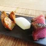 ノノナ - かつおの炙り 桜海老のさつま揚げ