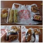 おべんとうのヒライ - 食べれるかどうかわかりませんが夜食用に少し購入しました。 ◆下の写真:片手でのり弁(189円)・・おにぎりの中に「白身フライ」「金平ごぼう」など海苔弁の具材が入っています。 話のタネですね(^^;)