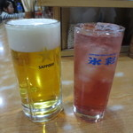 正起屋 - 生ビール(中450円)&チューハイ カシス(380円)
