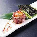 信州牛炙りのユッケ風 韓国海苔と