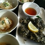 37479294 - もずく天ぷら&ジーマーミ豆腐の揚げ出し
