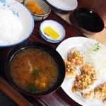 ひさ - 鶏の唐揚定食(ネギソースかけ)