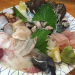 白鶴亭 - サザエの肝は、全く苦味がなくて美味しい。 石鯛はさっきまで泳いでいたもの。肝付き!