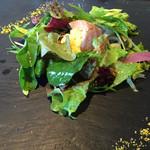 37512335 - (2015/5)旬野菜とホタルイカのサラダ 低温で炙ったサーモンと蒸したホタルイカが美味しい。