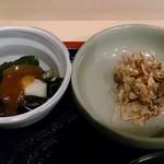 奈加山 - 奈加山 @青山一丁目 定食に添えられるねぎぬたと大根茎葉の漬物