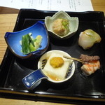 りん - 前菜 養老豆腐生うに添え 鯛手毬寿司 鯛の南蛮漬け あおりいか ヌタ 車海老