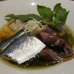 魚介料理 海 - 鮮魚の酢の物(コハダ、いたや貝、ほや、ほたるいか)