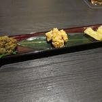 魚介料理 海 - 珍味三種(ふきのとう味噌、しらす煮氷、ぶりの子西京漬け)