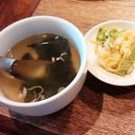 炭火焼肉 金剛園 - セットのスープ&漬物 2015/05