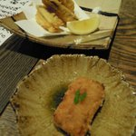 Ikkyou - 一饗特製コロッケ(手前)と、筍と白身魚のはさみ揚げ(奥)