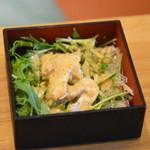 かしわ屋源次郎 博多シティ - 鶏の香味サラダ(北崎セット)