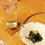 ふじ乃 - 付き出し 水菜?シャキシャキで美味しいです!
