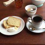 こかげ喫茶室 - 本日のデザート(レモンシフォン) フェアトレードコーヒー