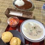 瀞ホテル - マフィンとスープセット、ハヤシライス(大盛り)