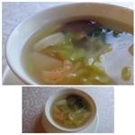 中国料理 石本 - 貝柱風味の野菜スープ・・貝柱のお味は殆どしませんし、細い繊維が数本入っていました。 これはかなりの薄味で、もう少しお味がある方が好みです。