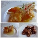 中国料理 石本 - 海老のレモンソース掛け・・これは酸味も程よくいいお味です。 ツマミにと出された「クルミの甘露煮」もいいお味でした。