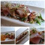 中国料理 石本 - 鰤の中華風サラダ・・鰤自体もいいお味ですし、辛味の効いたソースも好みでした。