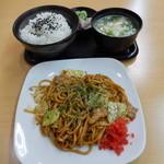 ねぎたまパークス - 焼きそば定食ご飯大盛り720円