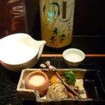 高麗橋桜花 - 前菜盛、日本酒