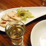 ライノスキッチン - お通し 鶏の生ハムとザーサイの盛合せ