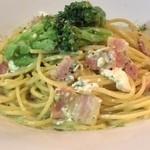 パスタハウス トライアングル - 5月のランチ「チーズにグリーンソース」ほうれん草と大葉のクリーミーなグリーンソースです。