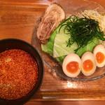 さんや - つけ麺(並盛)   野菜大盛、煮玉子 トッピング