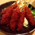世界の山ちゃん - 味噌串カツ♡甘いのでたっぷりカラシつけて食べましたw