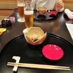 37631854 - 前菜の小鉢・生ビール