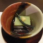 方舟 大吟醸 しずく - 長蕨のお浸し 雲雀豆富 美味出汁