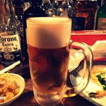 37645317 - 黒泡ちゃんビール。普通のビールに黒ビールの泡。